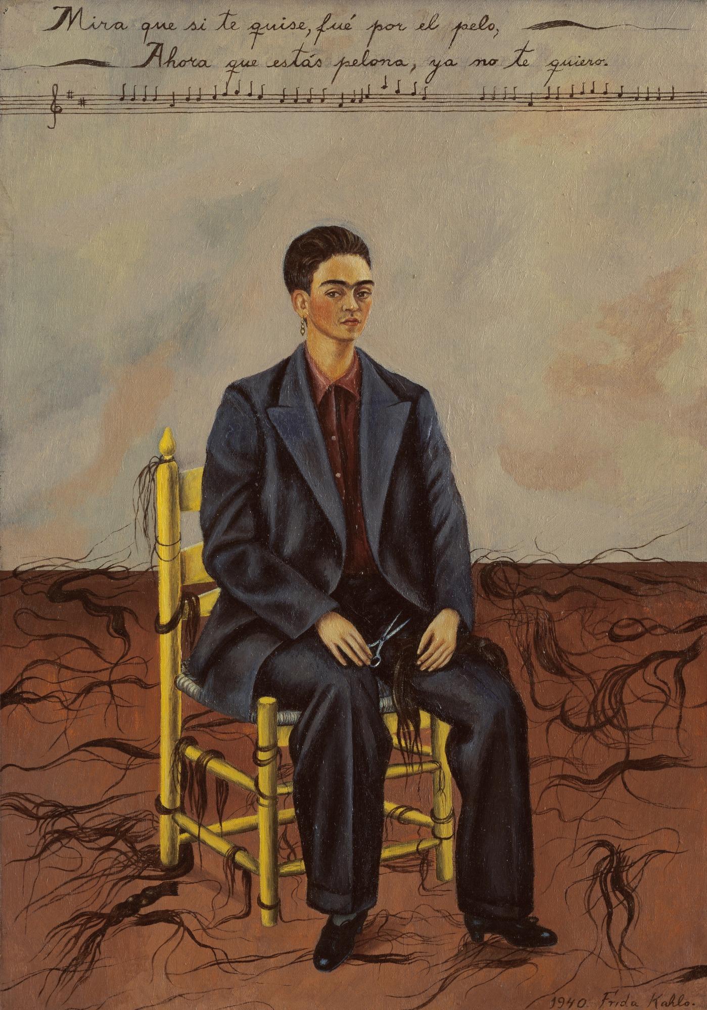 Zelfportret met afgeknipt haar door Frida Kahlo, 1940