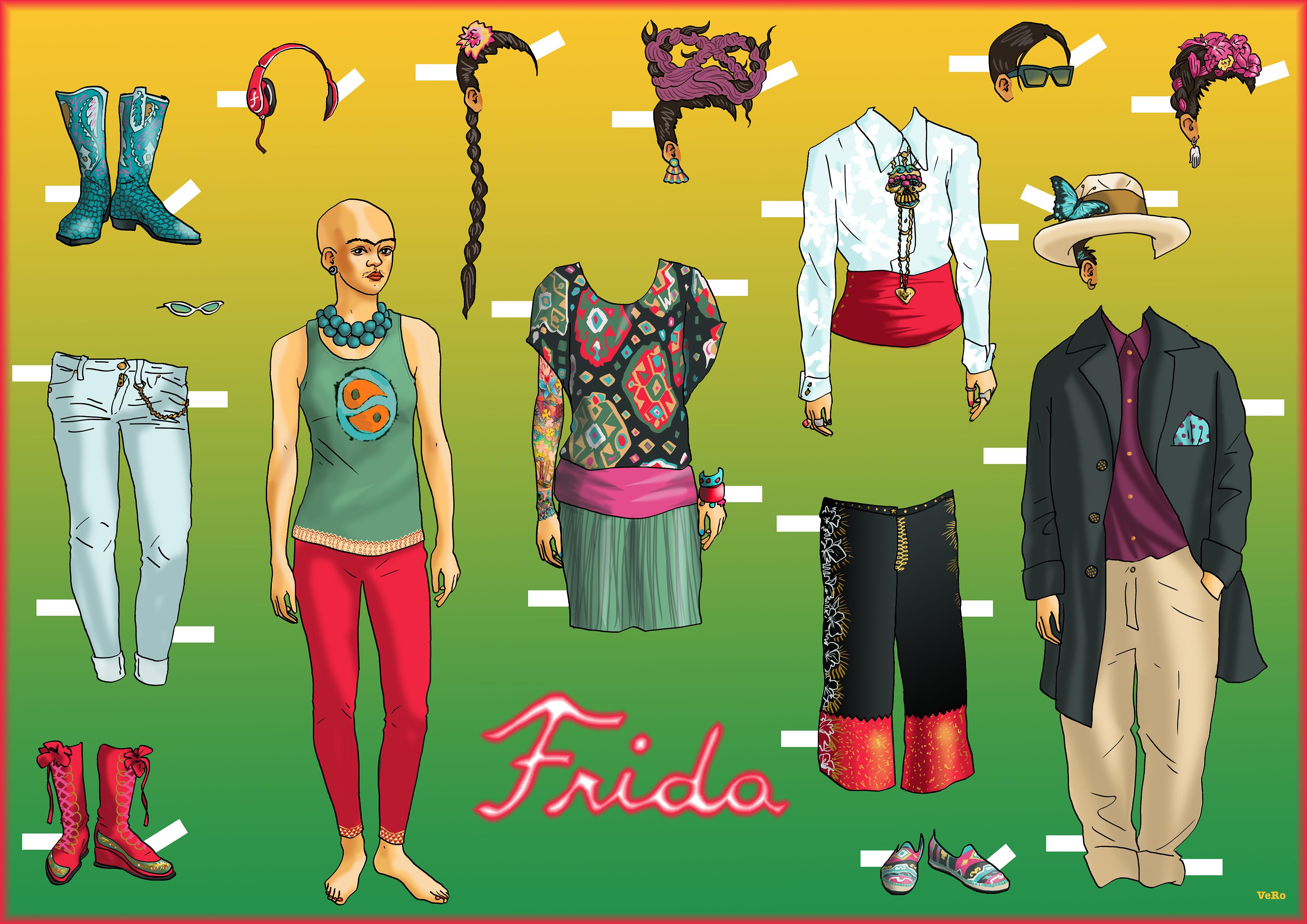 Frida Kahlo aankleedpopje door Vero Beauprez, 2018