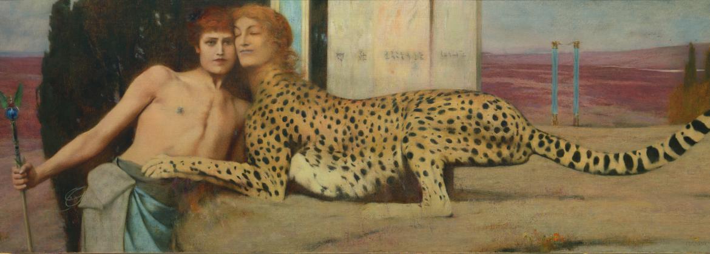 De kunst / De liefkozingen door Fernand Khnopff, 1896